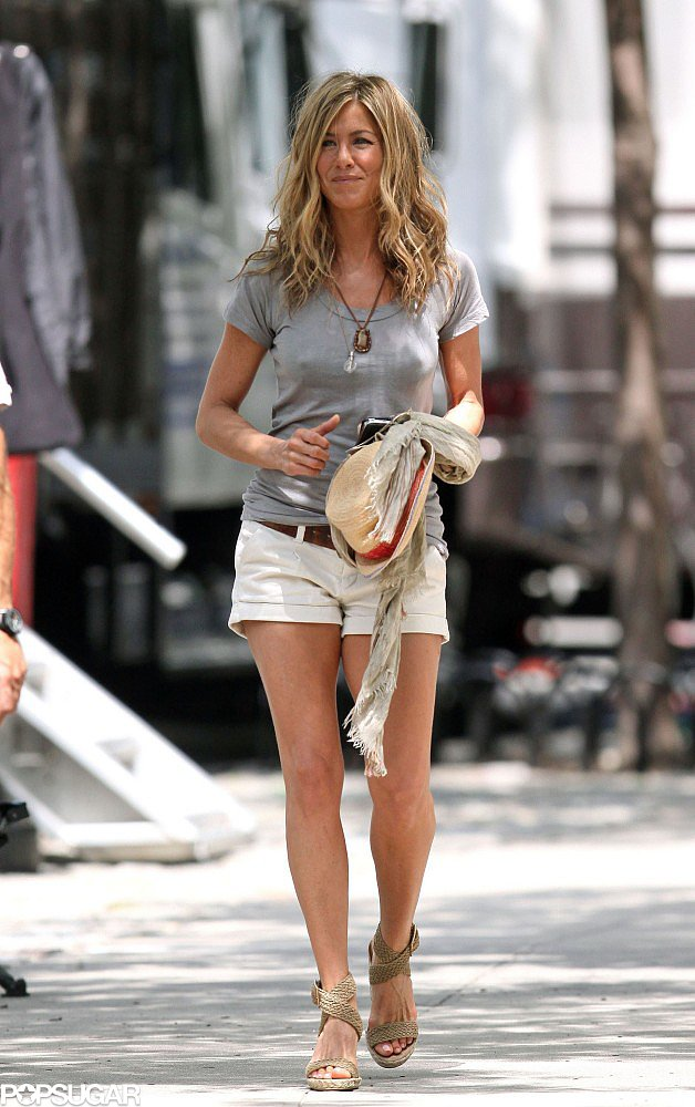 Jennifer Aniston even stuck her Stuart Weitzman crochet wedges The Secret To Jennifer Anistons Style
