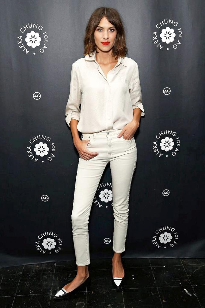 Le Fashion Blog Alexa Chung Ivory Off White Button Down Shirt Skinny Brianna AG Jeans Two Tone Tabitha Simmons Flats How To Add Wow To Your Outfit