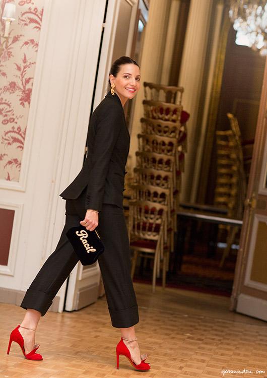 suit worn with heels