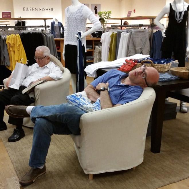 Men shopping tired